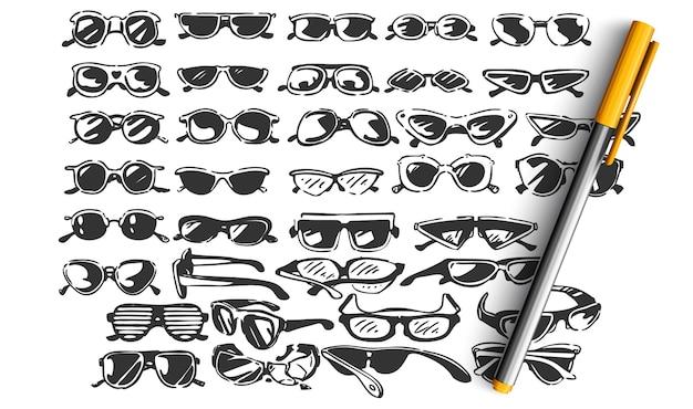 Gafas doodle set Vector Premium