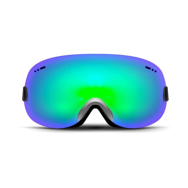 Gafas de esquí aisladas en blanco. máscara de cristal de invierno para nieve. protección de snowboard para la cara. gafas de sol vintage. Vector Premium