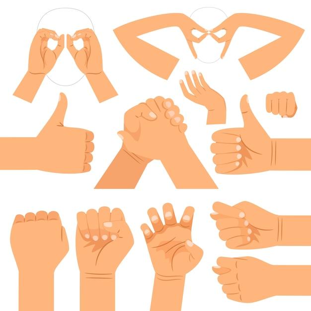Gafas de forma graciosa, apretón de manos y pulgares arriba, puño y gatos garras gestos con las manos Vector Premium