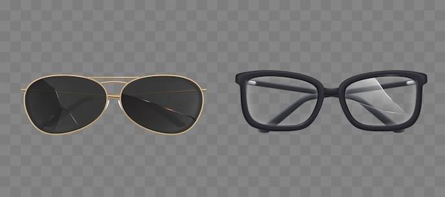 Gafas y gafas de sol rotas, conjunto de gafas vector gratuito