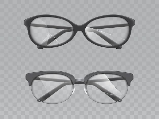 Gafas con lentes rotas conjunto de vectores realistas vector gratuito
