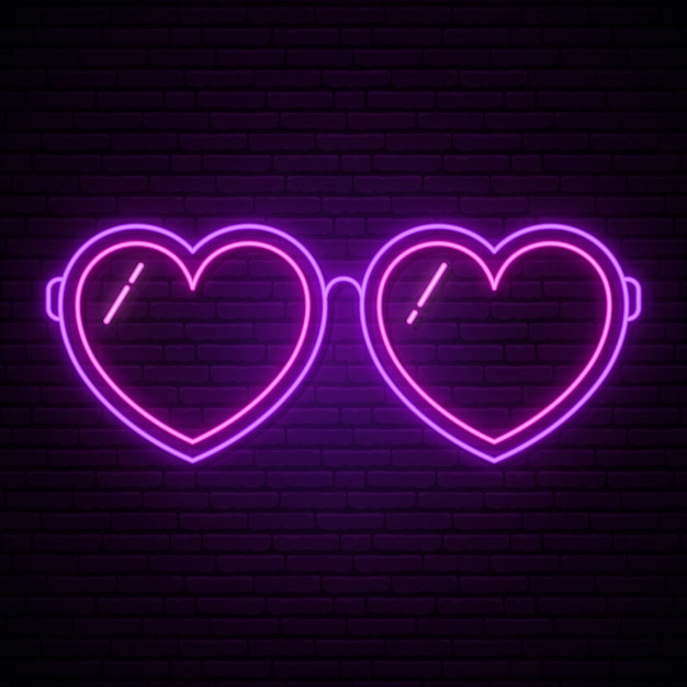 Gafas de neón en forma de corazones. Vector Premium