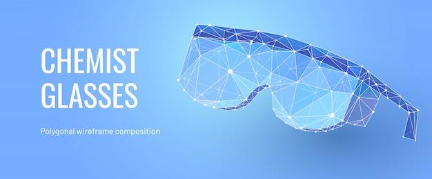 Gafas de químico en estilo de estructura metálica poligonal Vector Premium