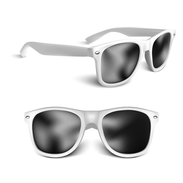 Gafas de sol blancas realistas aisladas sobre fondo blanco Vector Premium