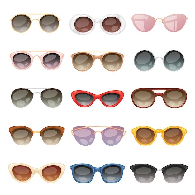 Gafas de sol de dibujos animados, anteojos o gafas de sol en formas elegantes para fiesta y moda gafas ópticas conjunto de accesorios de vista vista ilustración sobre fondo blanco Vector Premium