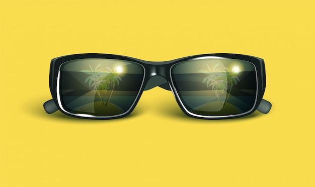 Gafas de sol retro de verano. Vector Premium