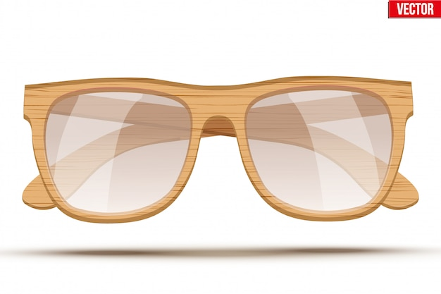 Gafas de sol vintage con montura de madera. Vector Premium