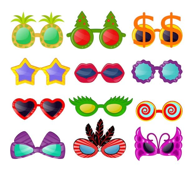 Gafas vector de dibujos animados anteojos gafas de sol en forma de estrella de corazón divertido para fiesta Vector Premium