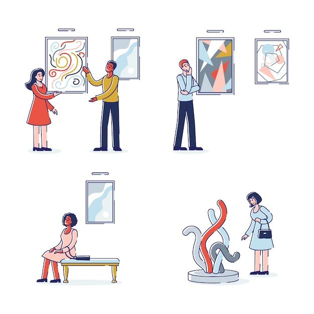 Galería de arte moderno con visitantes Vector Premium