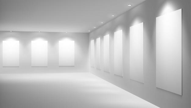 Galería de arte o museo con interior de vector de sala de exposiciones vacía vector gratuito