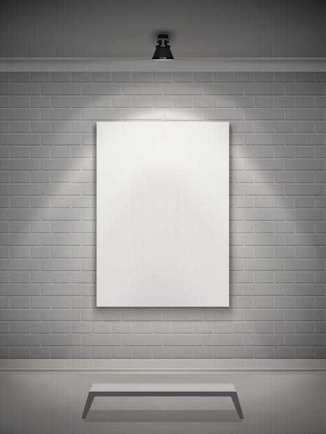 Galería interior realista vector gratuito