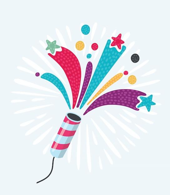 Galleta de fiesta con confeti y serpentina sobre fondo blanco. Vector Premium