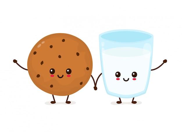 Galleta de microprocesador de chocolate sonriente feliz linda y vaso de leche. icono de iluustration de dibujos animados plana. aislado en blanco galleta de choco recién horneada con leche Vector Premium