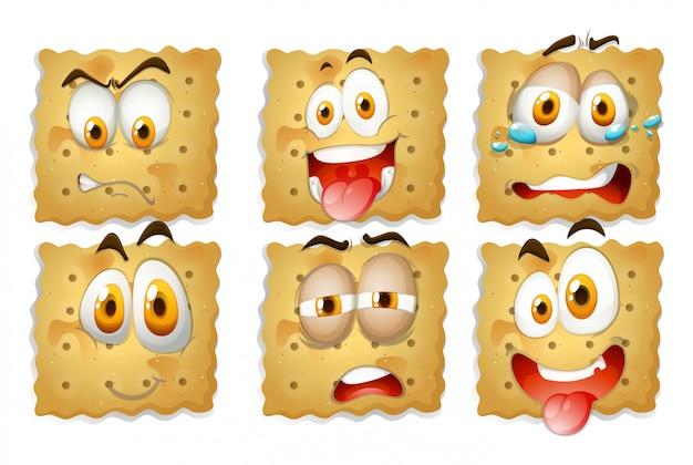 Galletas con expresiones faciales vector gratuito