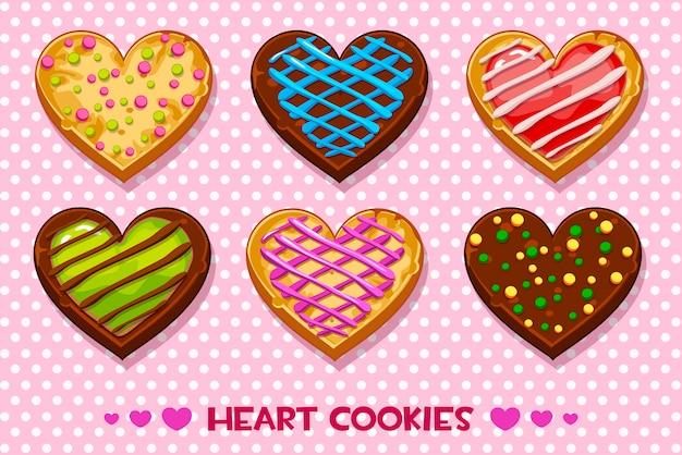 Galletas de jengibre y chocolate en forma de corazón con glaseado multicolor, establezca el feliz día de san valentín Vector Premium