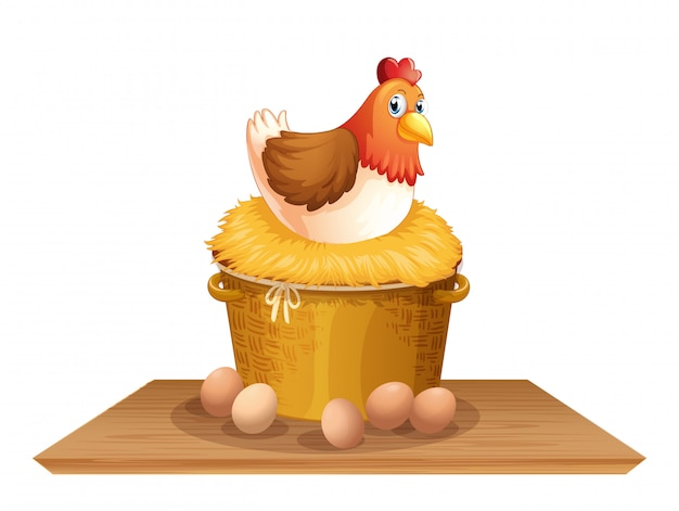 Gallina en nido de pollo vector gratuito