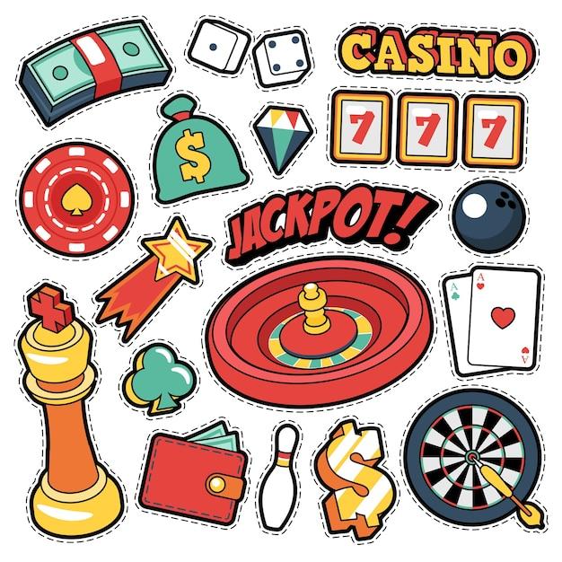 Gambling casino badges, patches, stickers - jackpot roulette money cards en estilo cómico. garabatear Vector Premium