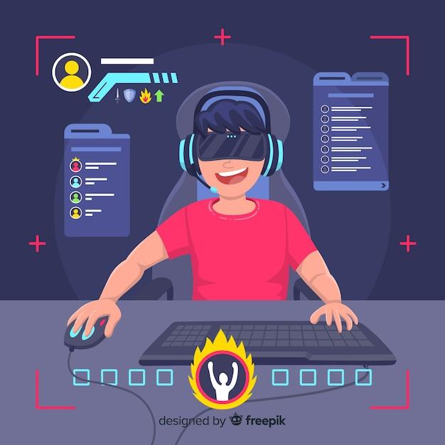 Gamer jugando al ordenador vector gratuito
