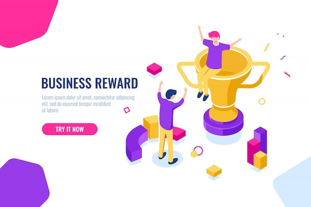 Ganador de recompensa isométrica, éxito empresarial, copa dorada, la gente está feliz de poner sus manos en alto vector gratuito