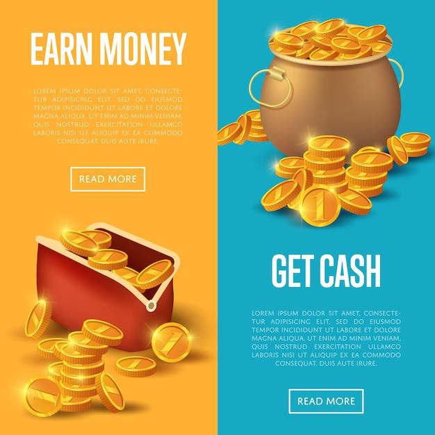 Gane dinero y obtenga un conjunto web de banners Vector Premium