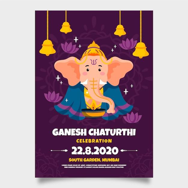 Ganesh chaturthi póster dibujo de plantilla vector gratuito