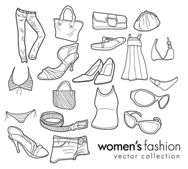garabatos moda mujer Vector Gratis