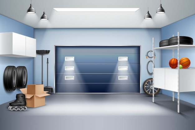 Garaje espacioso moderno composición realista interior con gabinetes de almacenamiento bastidores patines ruedas neumáticos puerta corredera ilustración vectorial vector gratuito