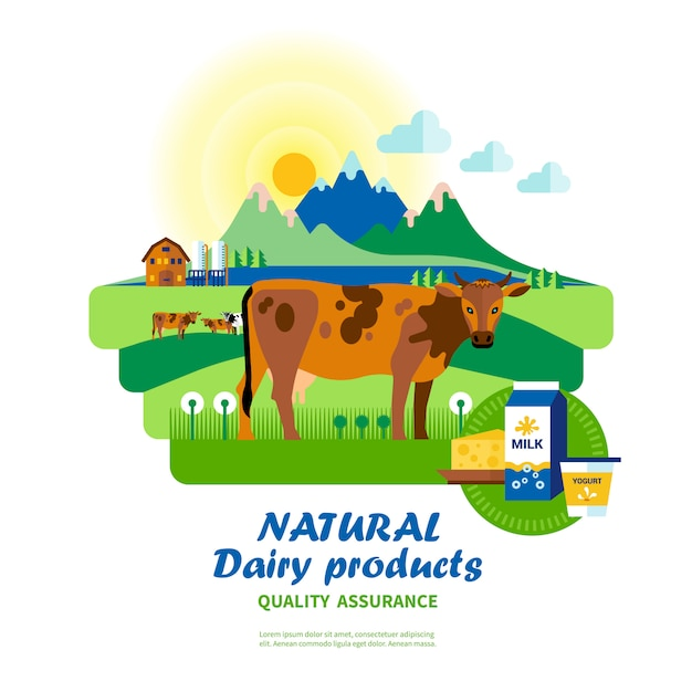 Garantía de calidad de productos lácteos naturales vector gratuito