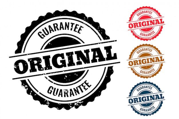 Garantía original auténtico juego de sellos de goma de cuatro vector gratuito