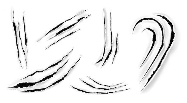 Garra de gato arañazos en papel. vector gratuito