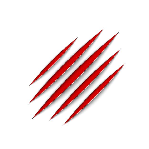 Garras rojas rasguño animal raspar la pista. gato o tigre arañazos en forma de pata. rastro de cuatro uñas. ilustración en blanco Vector Premium