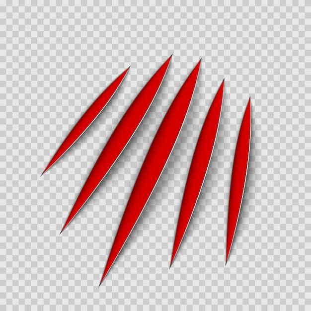 Garras rojas rasguño animal raspar la pista. gato o tigre arañazos en forma de pata. rastro de cuatro uñas. ilustración sobre fondo transparente Vector Premium