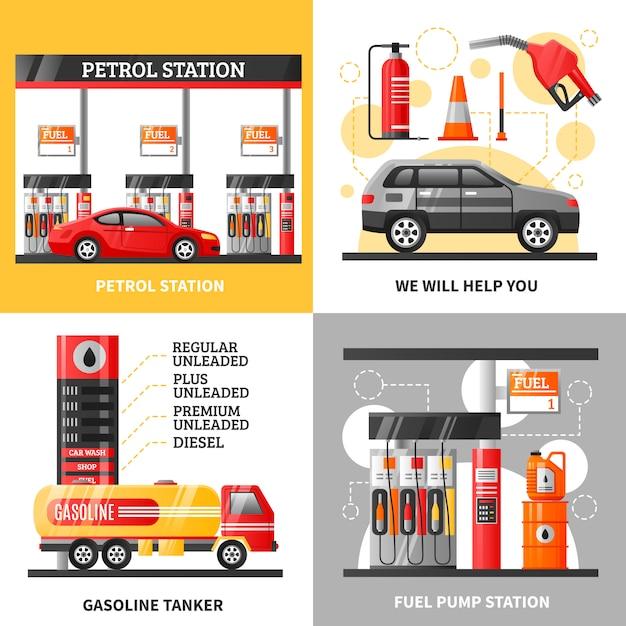 Gasolina y gasolinera 2x2 design concept vector gratuito