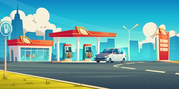 Gasolinera, servicio de reabastecimiento de automóviles en la ciudad, tienda de gasolina con edificio vector gratuito