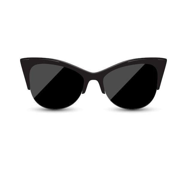 Gatito negro femenino de moda de los vidrios. Vector Premium