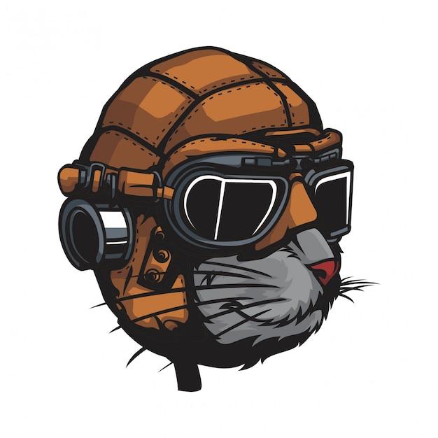 Gato con casco de cuero clásico. Vector Premium