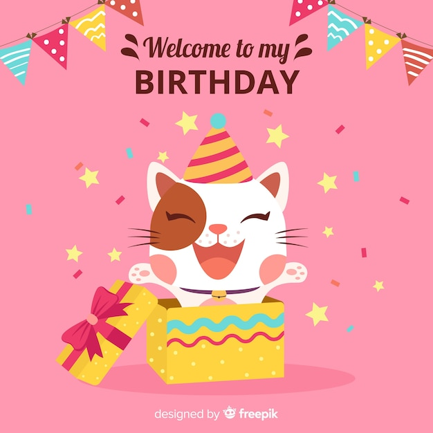 Gato de cumpleaños vector gratuito