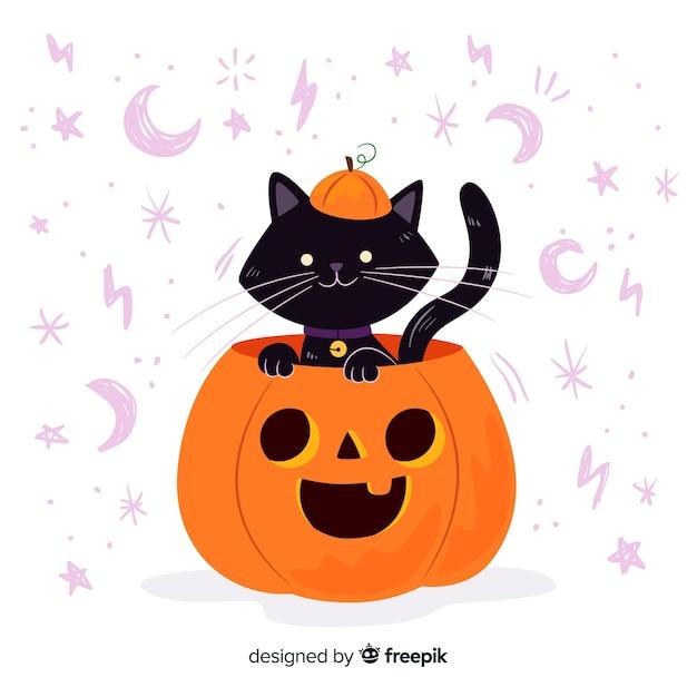 Gato dentro de un diseño plano de calabaza de halloween vector gratuito