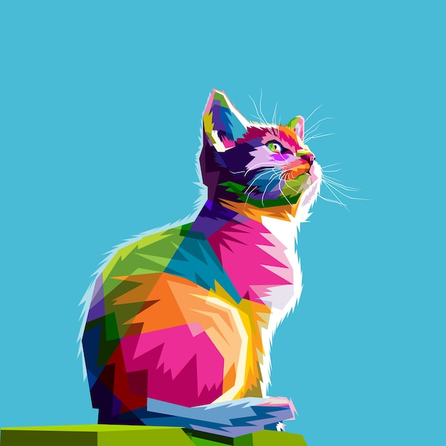 Gato fresco colorido Vector Premium