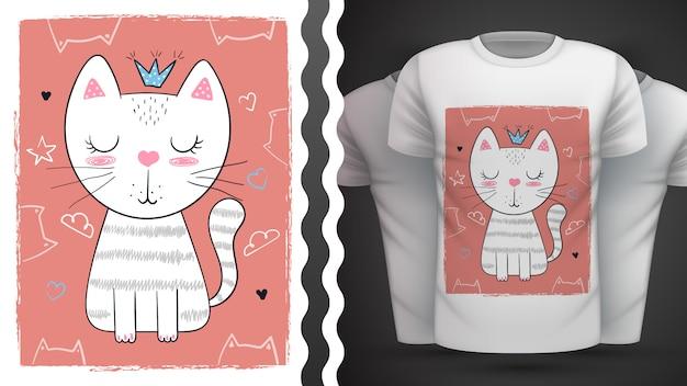 Gato, gatito - idea para imprimir t-shir Vector Premium