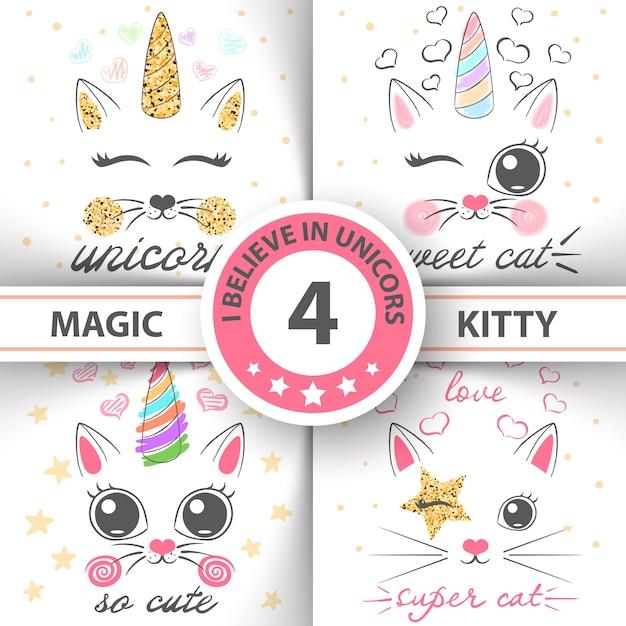Gato gatito unicornio patrón Vector Premium