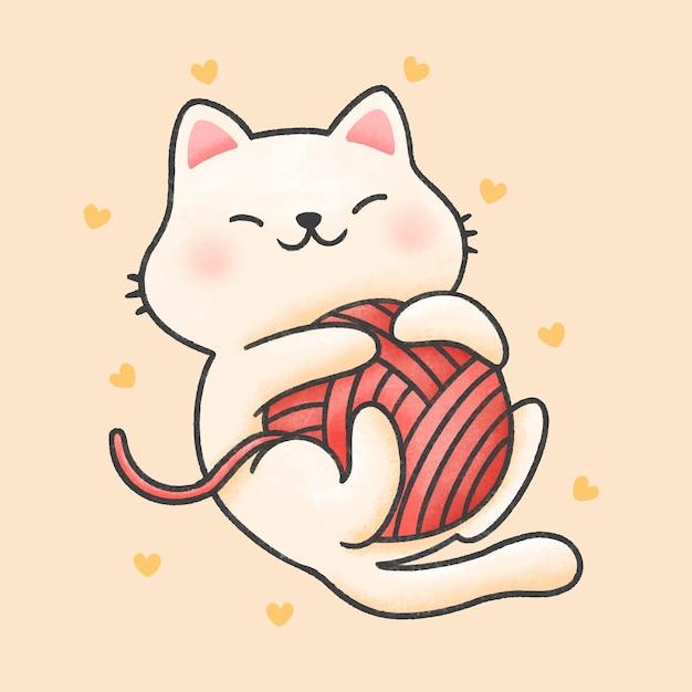 Gato gracioso jugando con hilo de dibujos animados estilo dibujado a mano Vector Premium