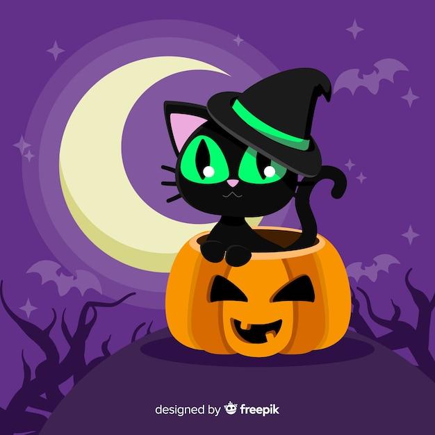Gato de halloween adorable con diseño plano vector gratuito