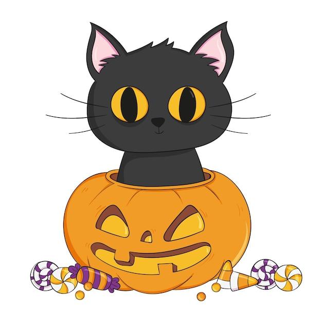 Gato de halloween dibujado a mano vector gratuito