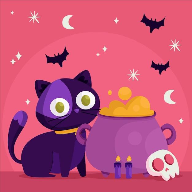 Gato de halloween de diseño plano con caldero vector gratuito