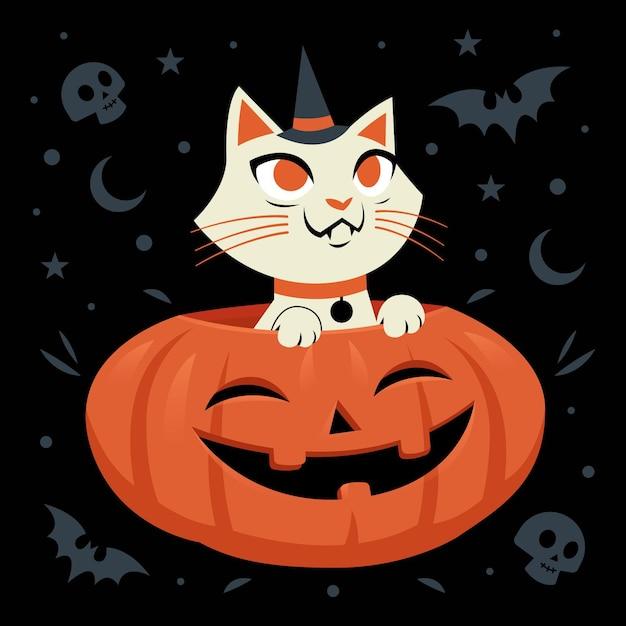 Gato de halloween de diseño plano vector gratuito