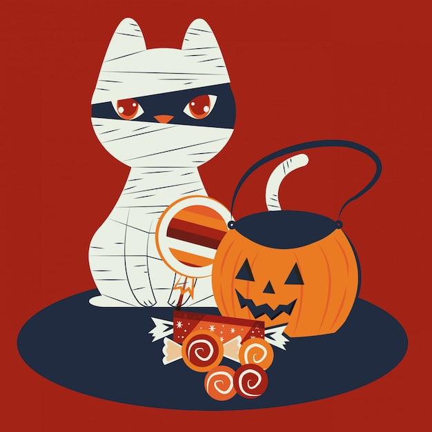 Gato de halloween disfrazado de personaje de momia vector gratuito