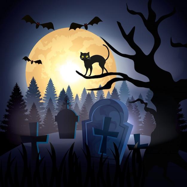 Gato de halloween sobre árbol seco en cementerio vector gratuito