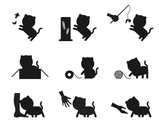 Gato Jugando Iconos De Acción Historia Silueta Conjunto Descargar
