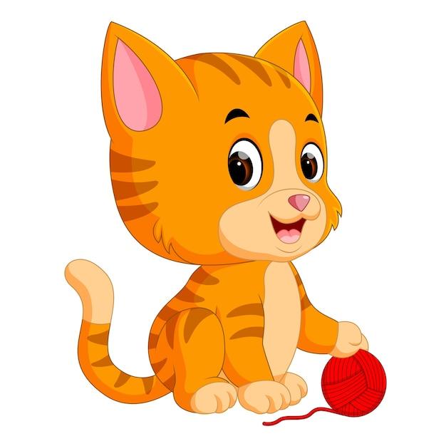Gato Jugando Con Pelota De Lana Descargar Vectores Premium